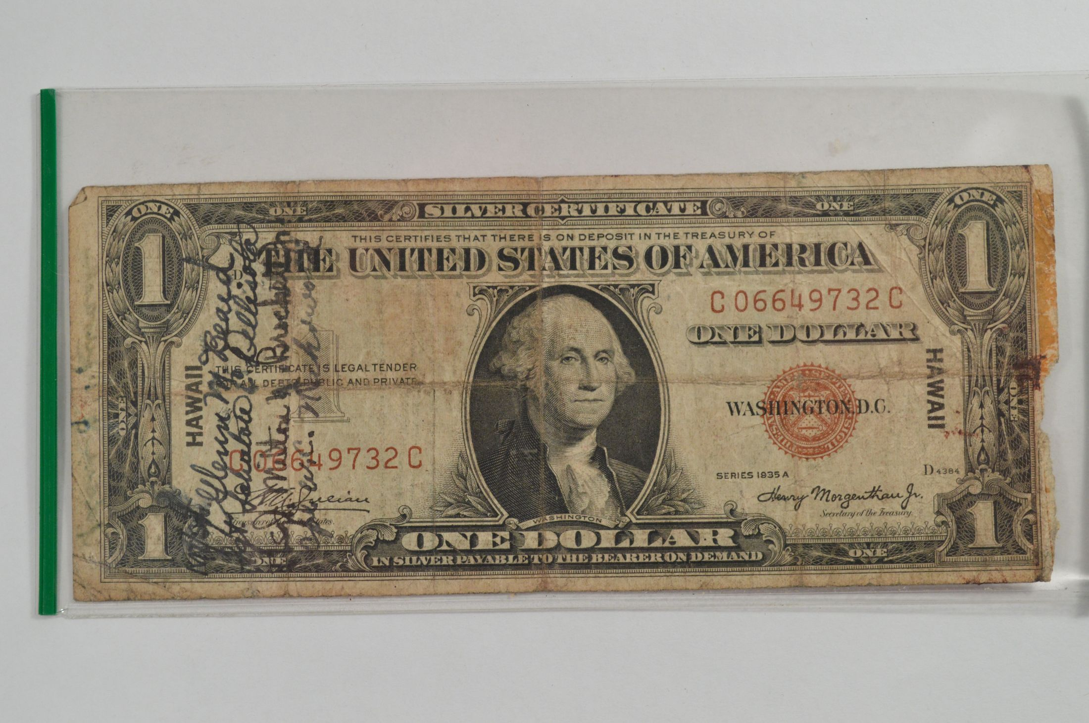 Series 1935a 1 Dollar Hawaii Silver Certificate With Signatures Of