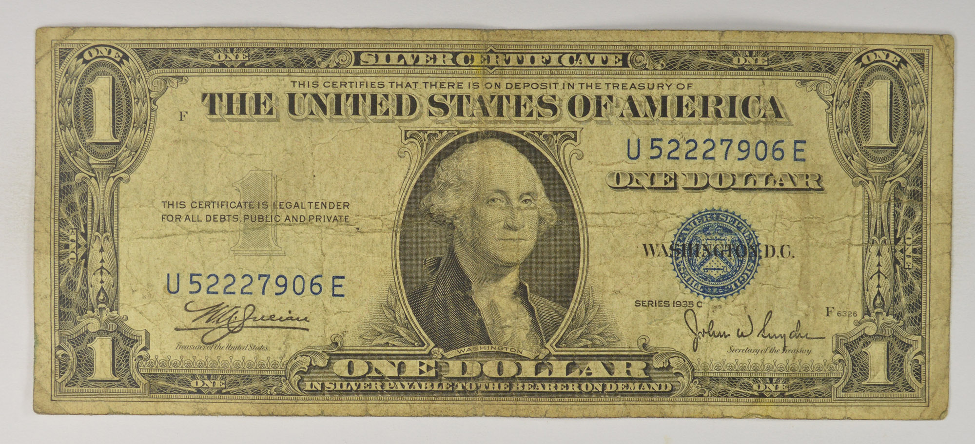Series C 1935 100 Silver Certificate Blue Seal Note Property Room