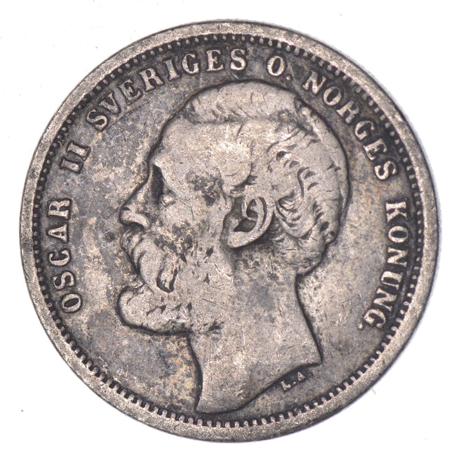 SILVER - 1875 Sweden 1 Krona - World Silver Coin 7.4 Grams ...