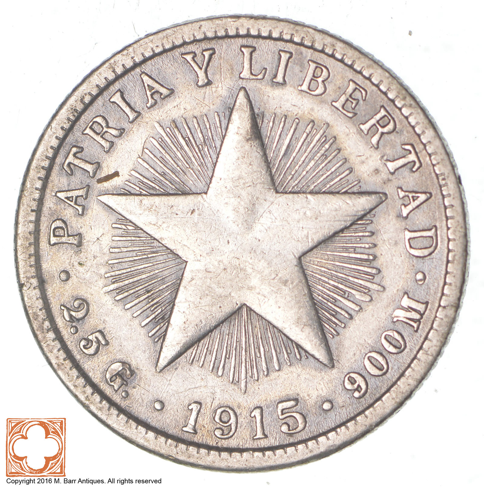 Silver 1915 Cuba 10 Cents World Silver Coin Property Room