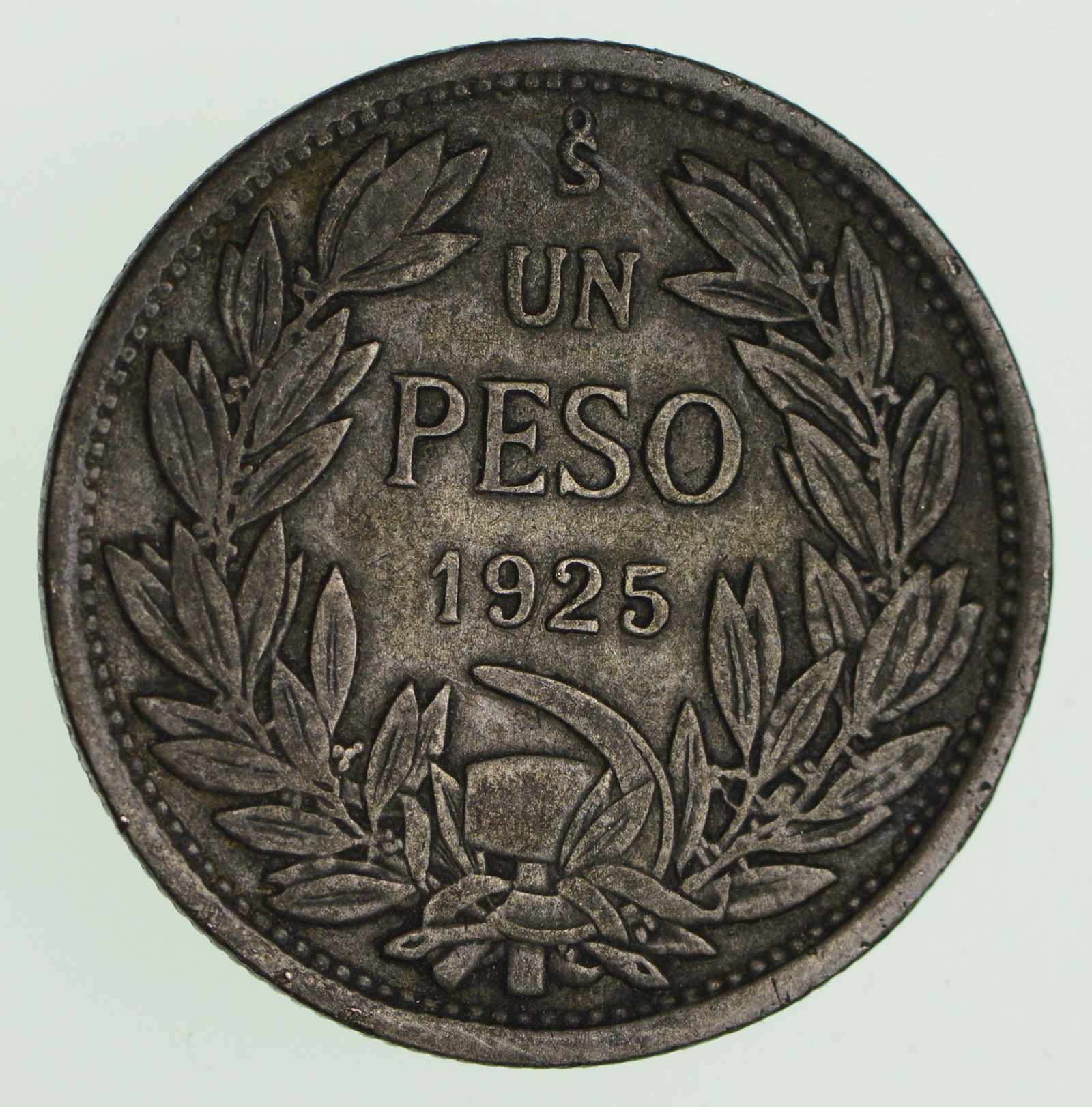 Silver 1925 Chile 1 Peso Santiago Mint World Silver