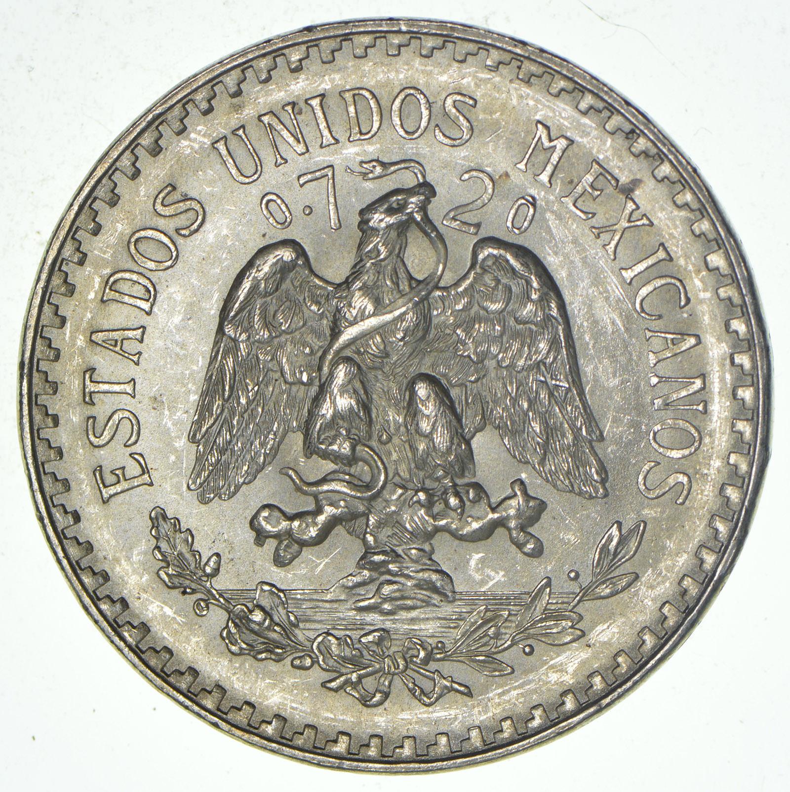 1944 Mexico Brilliant Uncirculated Silver Peso Coin