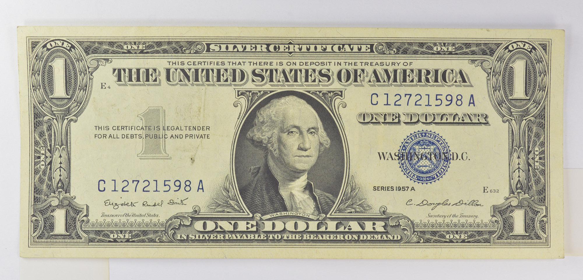 Silver Certificate 1957 A High Grade Douglas Dillon Sec Of