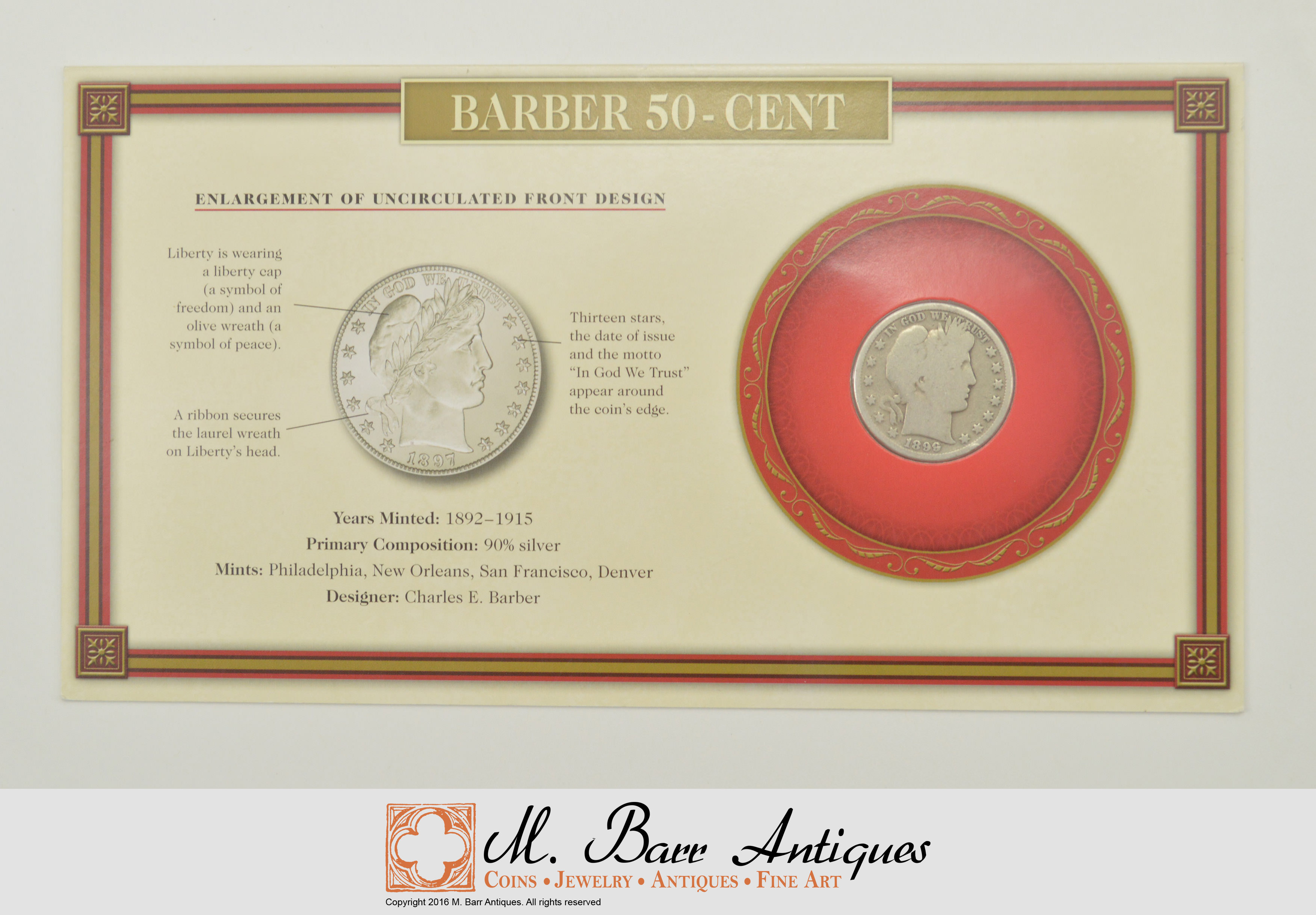 Silver Coin Set 1899 Barber 50 Cent Historic Us Collection
