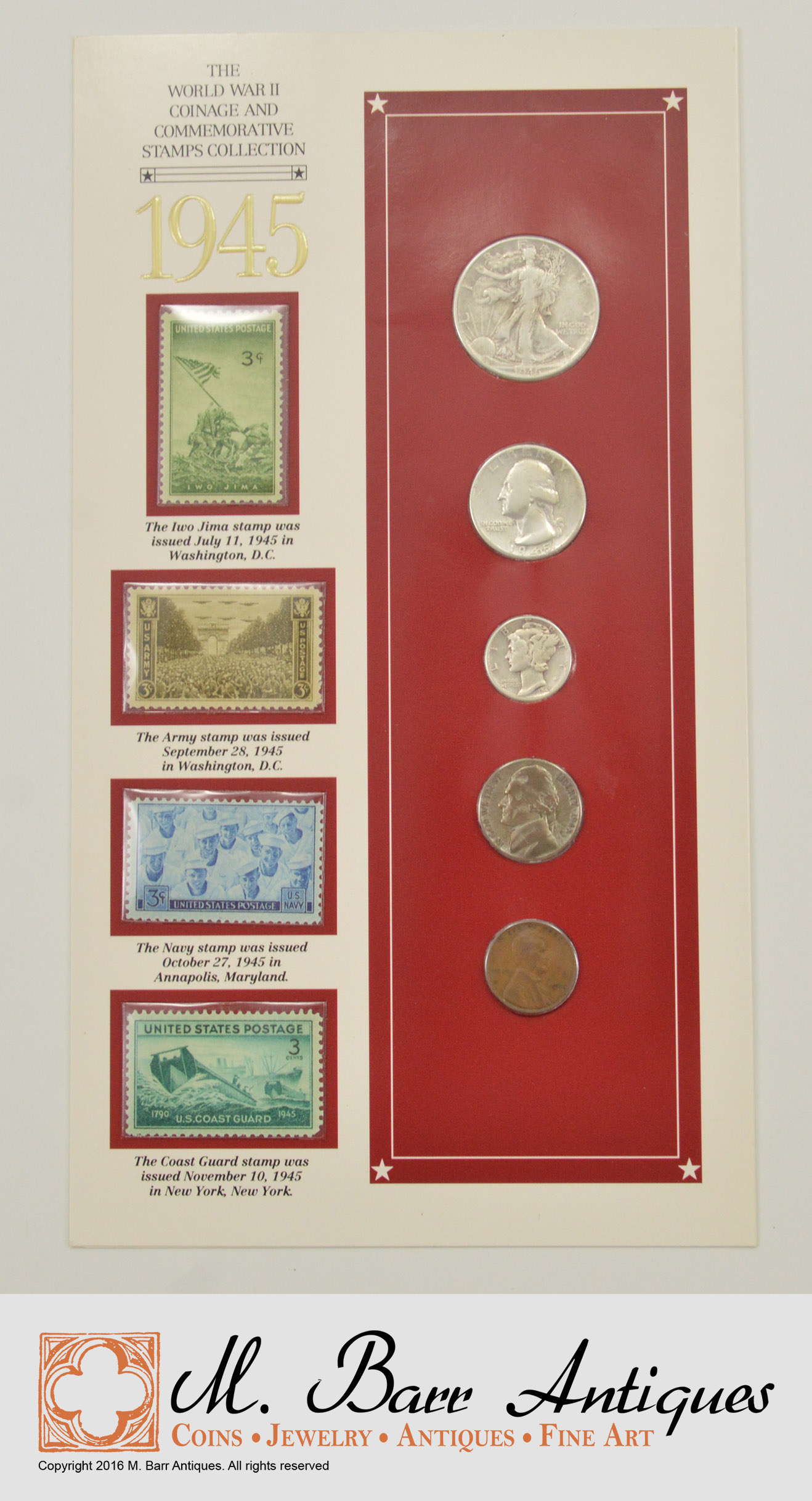SILVER Coin Set 1945 World War II Coinage And Commemorative Stamps Collection Historic US
