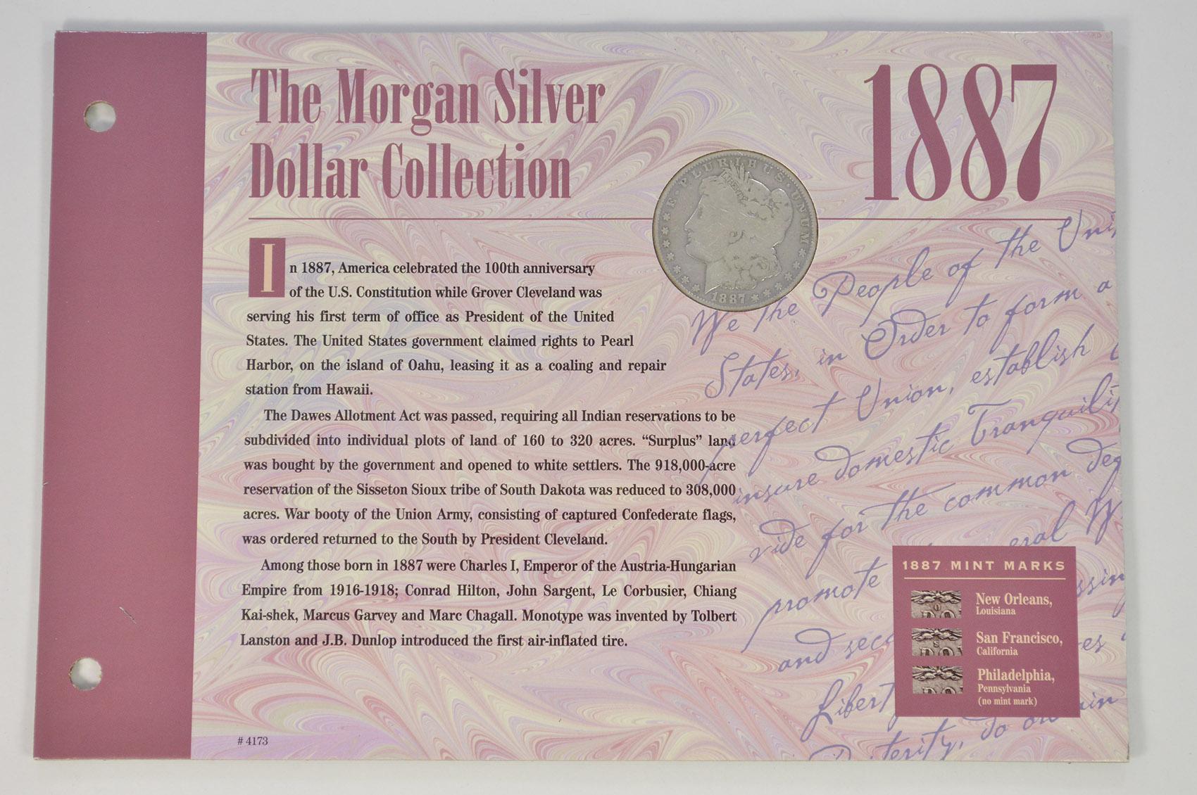 SILVER Coin Set Morgan Silver Dollar Collection - 1887