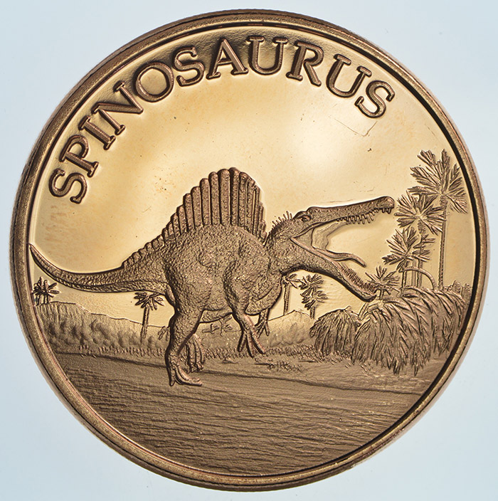 1 Ounce .999 Copper Round Triceratops Dinosaur 5 Coins