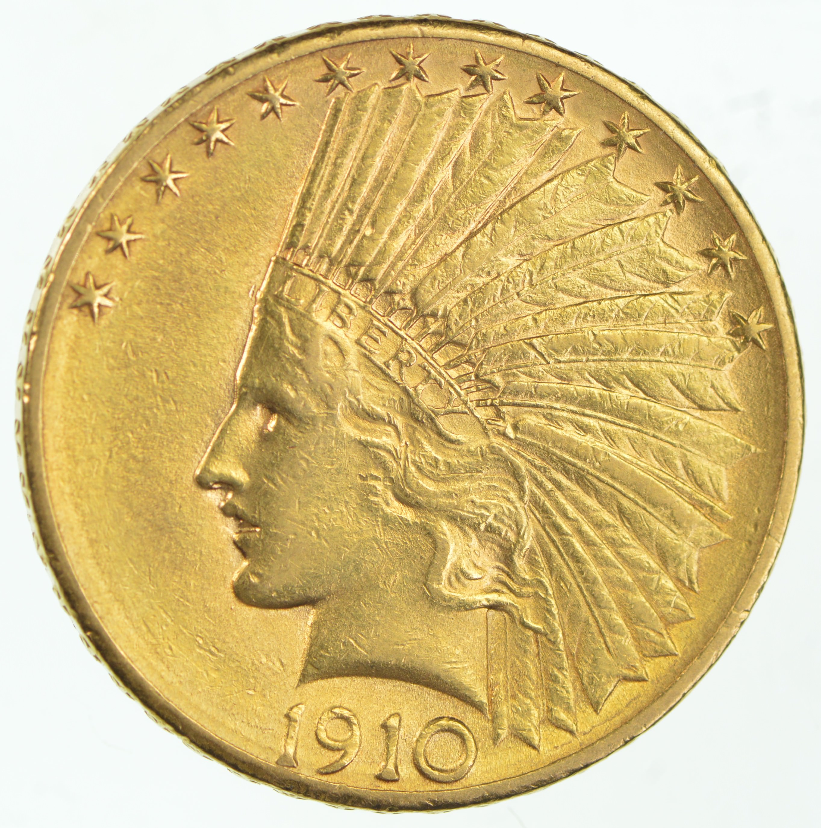Us Gold 10 00 1910 D Indian Eagle Gold Coin Almost 1 2