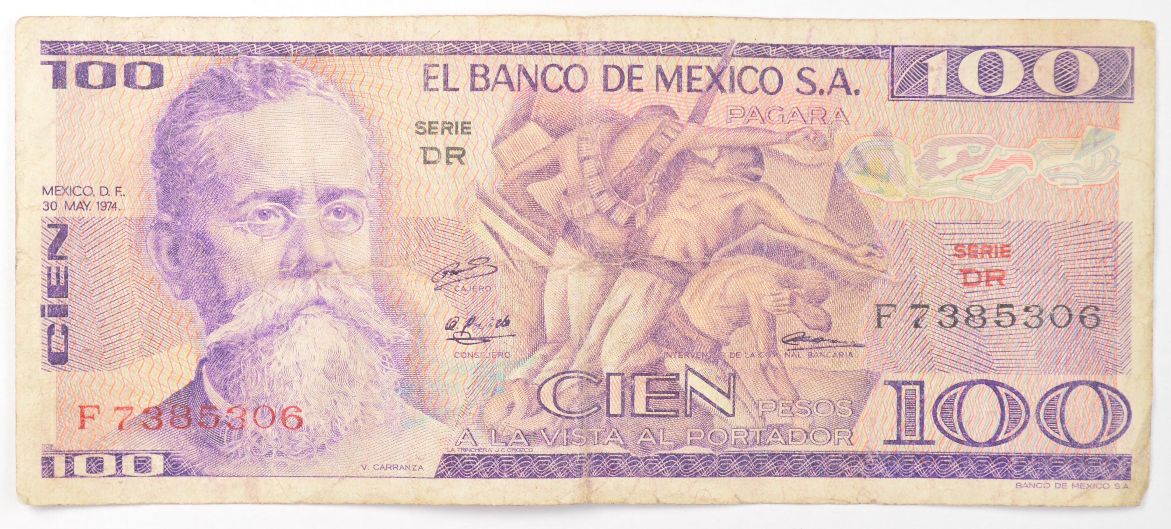 Vintage Mexican Paper Money Currency Collectible Note