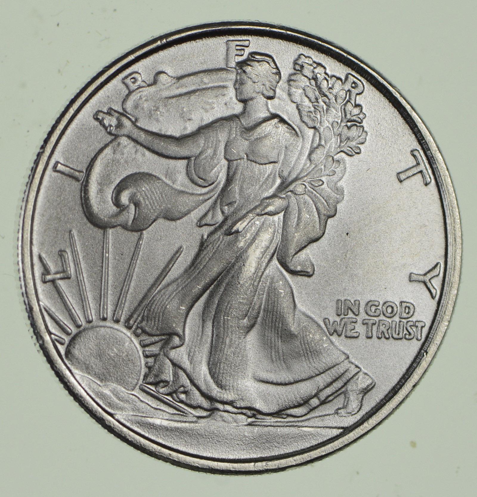 Walking Liberty Pure Silver Round 1 10 T Oz 999 Fine Bar 1oz