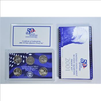 2003 United States State Quarters Proof Set 5 Gem Coins W// Box and COA