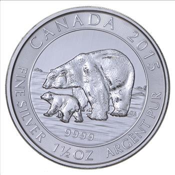 2015 1.5 oz Canadian Silver Polar Bear with cub Coin .9999 fine