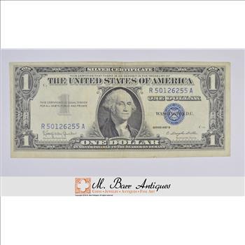 B\' SERIES 1957-B Silver Certificate Crisp $1.00 United States Note ...