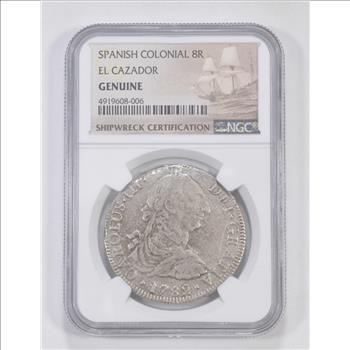 Spanish Colonial 8 Reales El Cazador Genuine NGC 8R Shipwreck Coin