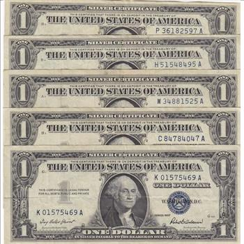 Lot of Five 1957 Series $1 Blue Seal Silver Certificates, Old U.S. ...