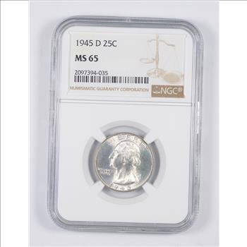 1 Coin 1945-D Gem BU Washington Quarter