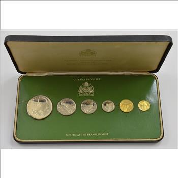 1976 Coinage Of Guyana Eight Silver /& Gold Coin Proof Set