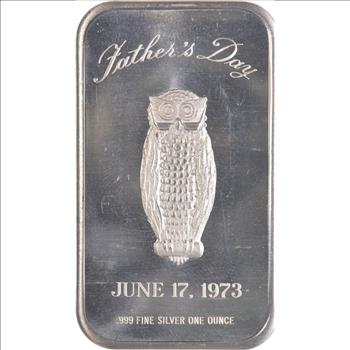 "1 oz .999 Fine Silver Bar Father/'s Day /""Owl/"" June 17 1973"