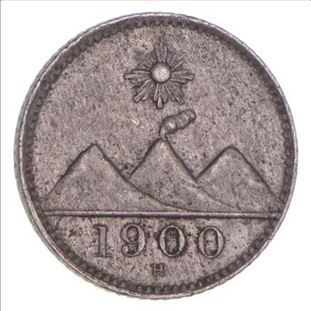 Silver 1900 Guatemala 14 Real World Silver Coin Property Room