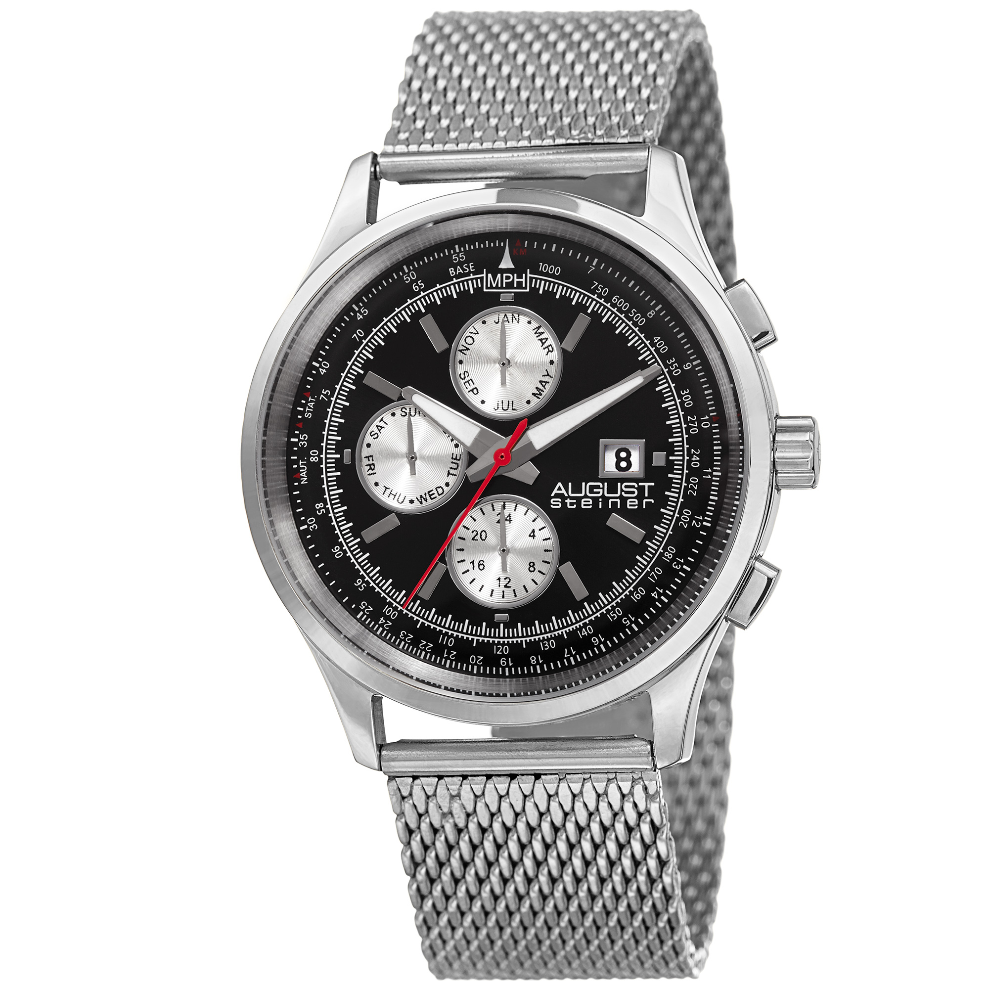 1ff191aca5c4a August Steiner Men s AS8194SSB Round Black and Silver Radiant Sunburst Dial  Two Time Zone Quartz Bracelet Watch
