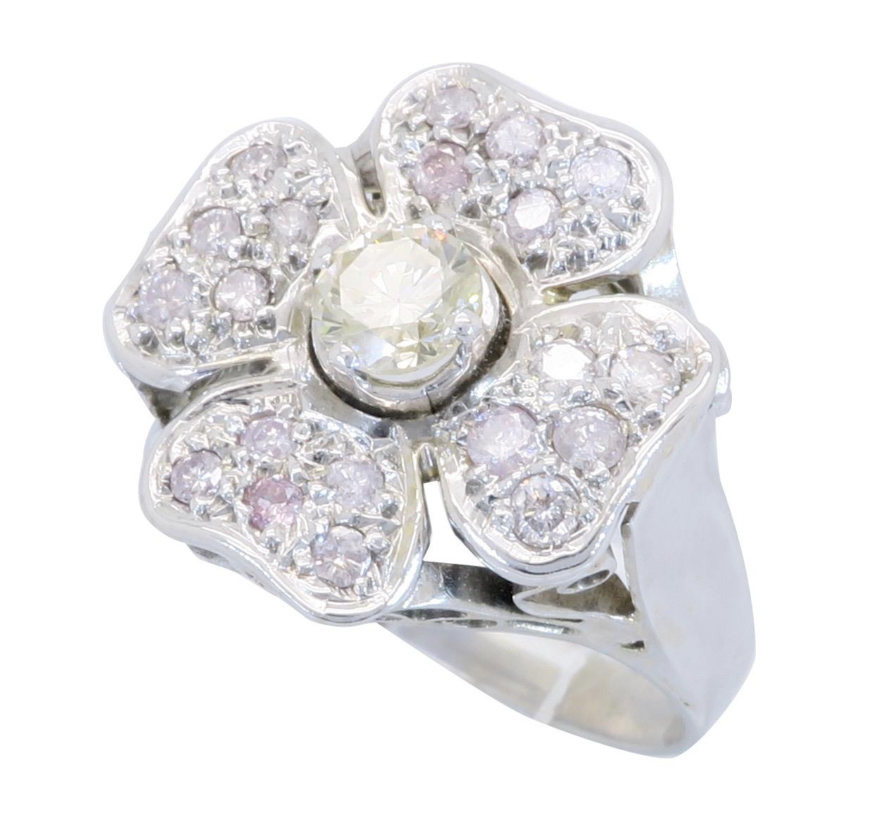 14k White Gold 80ctw Flower Diamond Ring Property Room