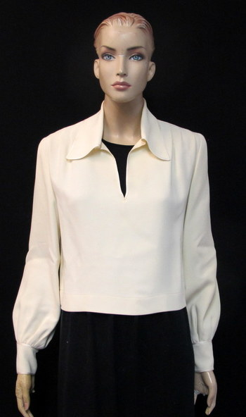 NINA RICCI BOUTIQUE PARIS Women's Long Sleeve Blouse-Made in France-Size S Retail $450.00