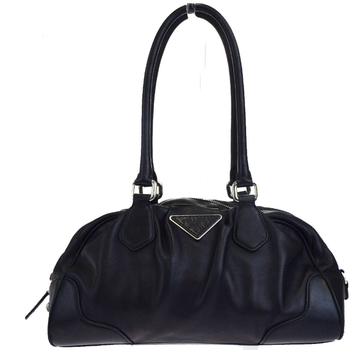 PRADA MILANO Logos Handbag Shoulder Bag Leather Black MSRP $2899