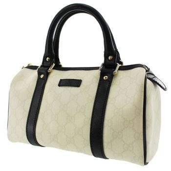GUCCI Speedy Dr.Bag Handbag GG Petite Leather Ivory Black MSRP $2799
