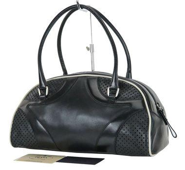 PRADA Black Perforated Leather Tote HandBag MSRP $2899