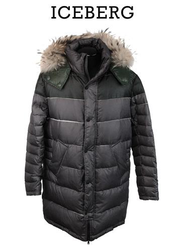ICEBERG Men's Italian Designer Goose Down 3/4  Hooded Puffer Jacket - Size M/L - Retail $1,450.00