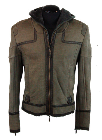 Men's Italian Designer JUST CAVALLI Hooded Leather/Shearling Bomber Jacket - Size M/L - Retail $4,500.00