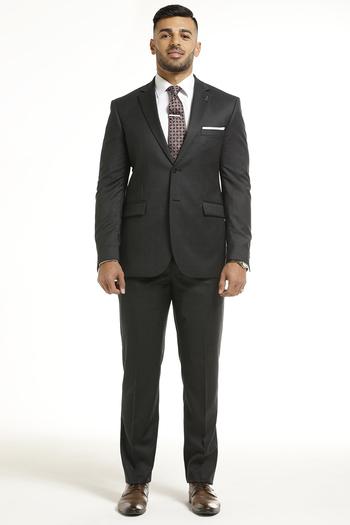 Men's Designer Dark Grey Faint Brown Stripe Pattern 2 Piece Suit - Size 40L/32 - $499.00 Retail