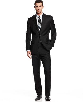 Men's Designer Black 2 Piece Suit - Size 42L/34 - Retail $499.00
