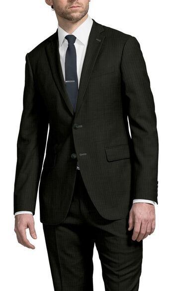 Men's Designer Black Pinstripe 2 Piece Suit - Size 44/32 - Retail $499.00