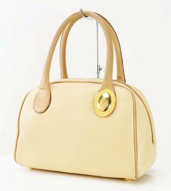 CHRISTIAN DIOR Beige Leather Boston Handbag