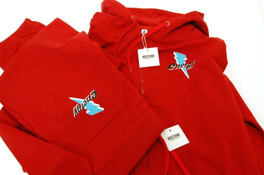 MOSCHINO Men's Italian Designer 2 Piece Hooded Zipper Track Suit - Size L - $650.00 Combined Retail