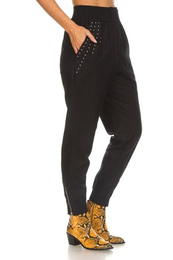 IRO Paris Richly Studded Linen-Blend Tapered Pants Small Retail $500.00