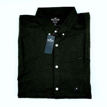 Hollister Mens Epic Stretch Oxford Shirt, Black, XL