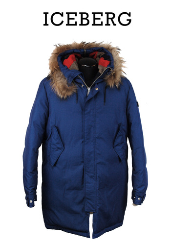 ICEBERG Men's Italian Designer  Parka with Fox Trim Hood - Size XL - Retail $1895.00