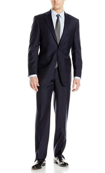 Men's Designer Black Textured Stripe 2 Piece Suit - Size 40 /34 Retail $600.00