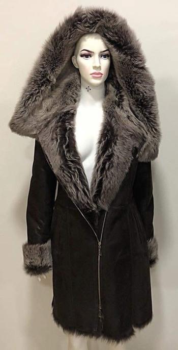 Shearling Sheepskin Coat with Fox Fur, Size M