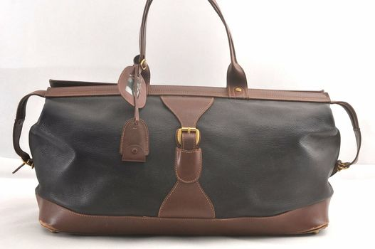 GUCCI Boston LG Duffle Handbag Leather Black