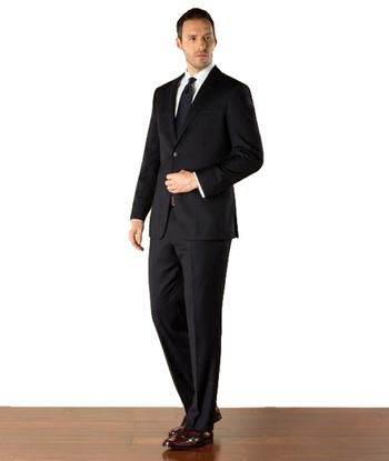 Men's Designer Dark Navy Faint Patterned Wool Blend Suit - Size 40L/34 - $699.00 Retail