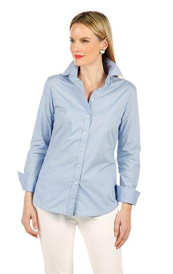Guillaume Women's Classic Button Down Shirt, Sky Blue, Size 10, Retail: $20.62