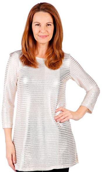 Mr. Max Fashions Women's Foil Printed Rib Knit Top, Ivory, Size S, Retail: $21.00