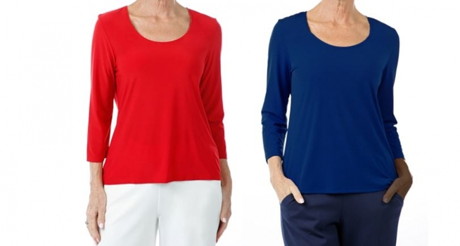 Slinky Brand 2-Pack 3/4 Sleeve Ity Top, Color: Red, Blue, Size: Small