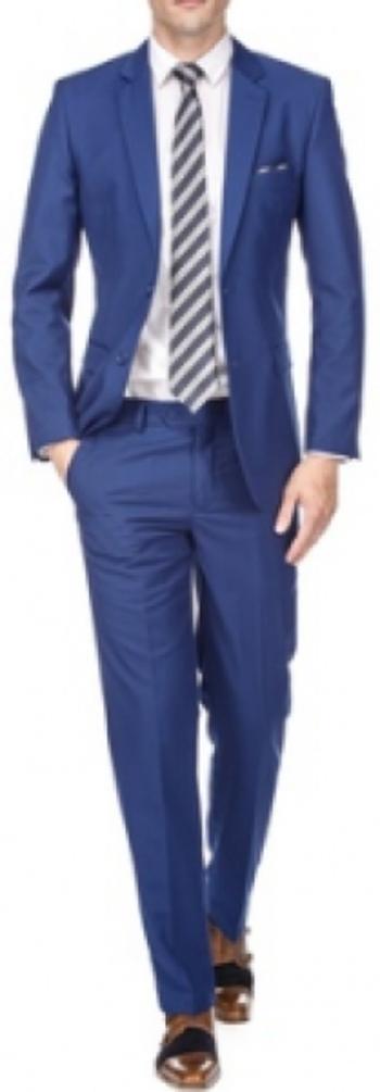 Men's Slim Fit 2-Piece Blue Suit, Size: 42R/36W
