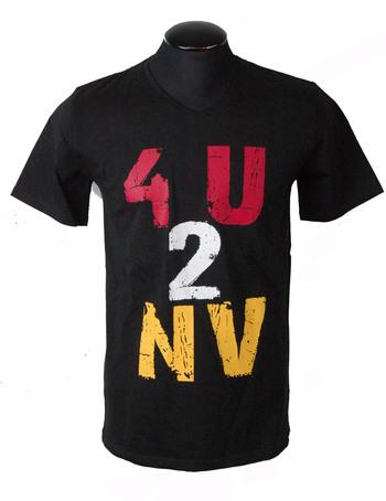 4U2NV Men's Italian Designer V Neck T-Shirt - Size L - Retail $250.00