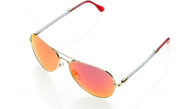 New Invicta Gold White Aviator Sunglasses Red Mirrored - Retail $195.00