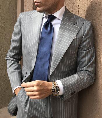 Men's Designer Grey Pinstripe Two Piece Suit - Size 38R/30 - $499.00 Retail Value